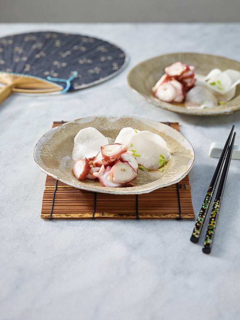 Octopus in a sanbaizu marinade with daikon radish