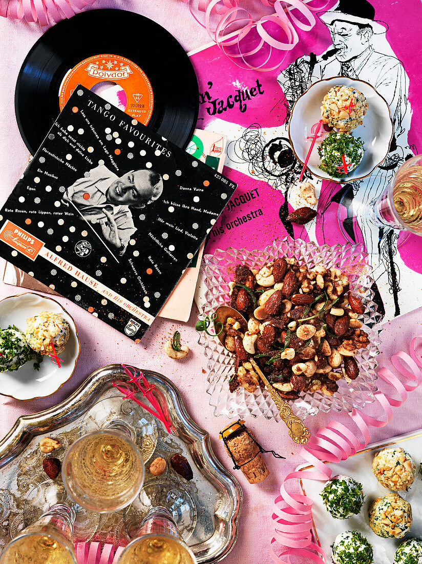 Cheese balls, nibbles, sparkling wine and vinyl records for a New Year's Eve party