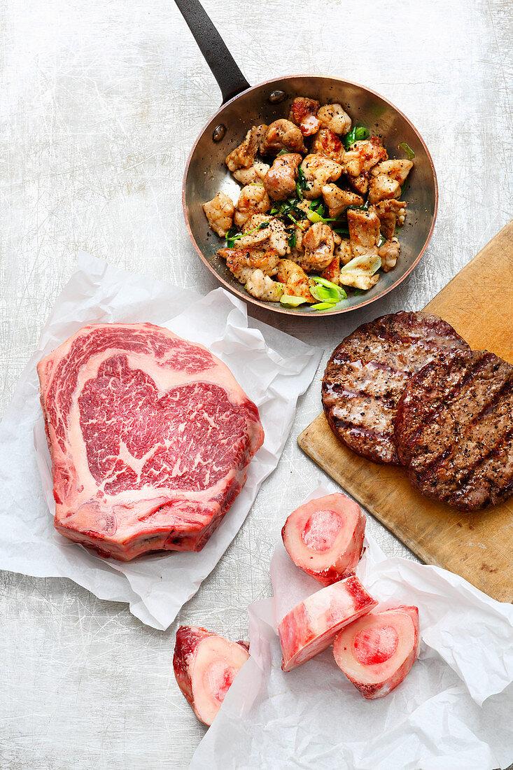 Beef: - sweetbread, steak, patties, marrow bones