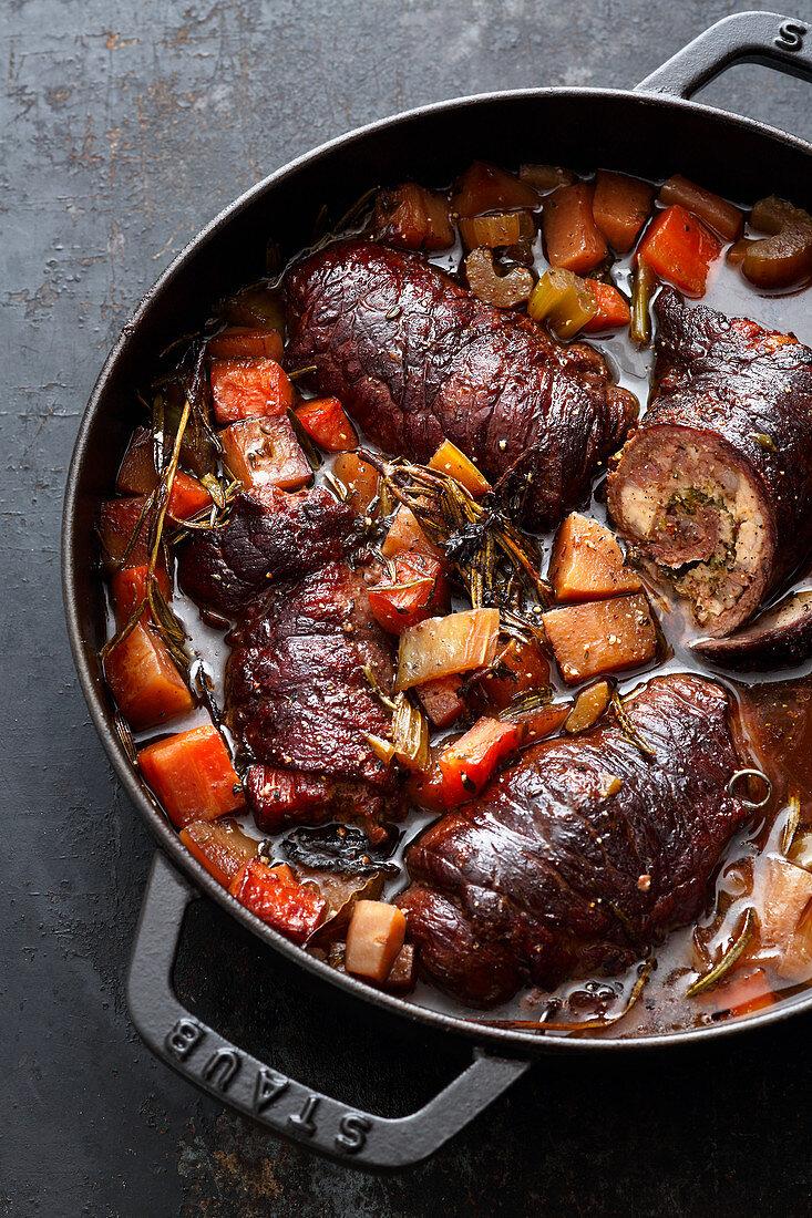 Classic German dish, braised beef rolls