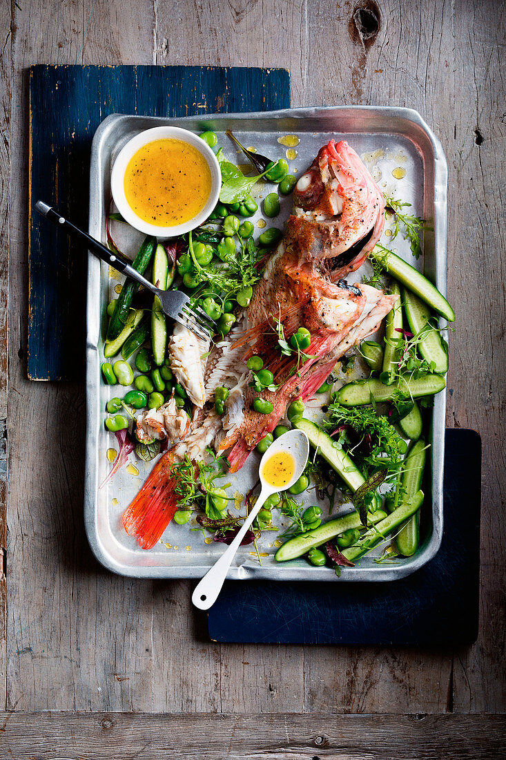 Ocean perch with broad bean and cucumber salad