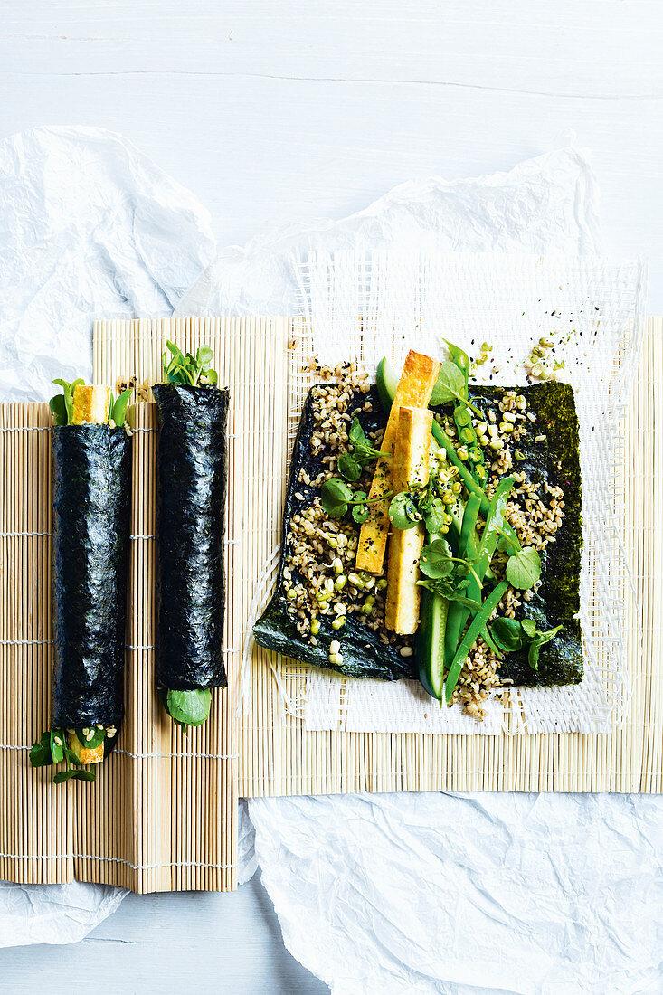 Crispy tofu brown rice nori wraps with pickled cucumber