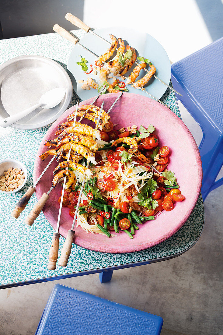 Satay prawns with green papaya salad
