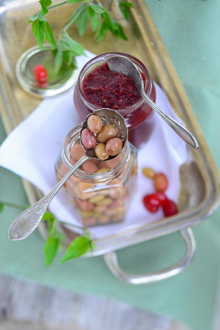 Homemade Cornelian cherry chutney