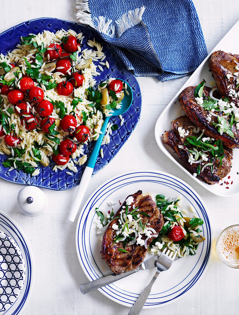 Orzo, Tomato, Olive and Lemon Salad , Barbecued Lamb with Fetta
