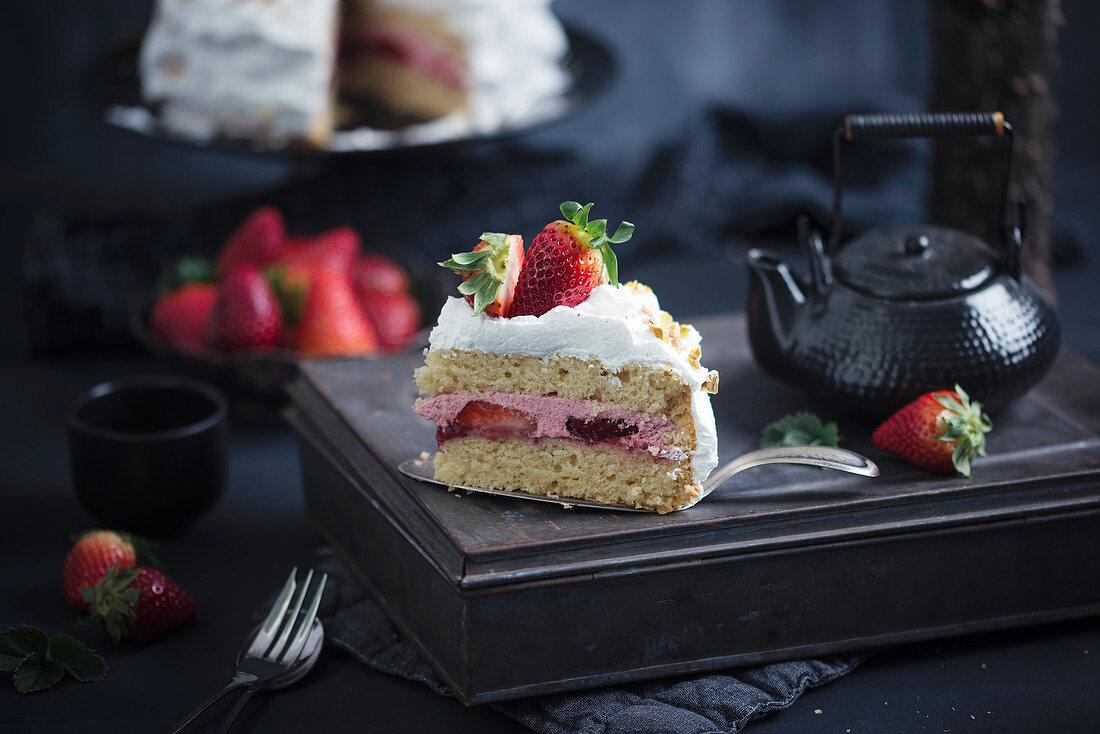 A vegan strawberry and cream cake