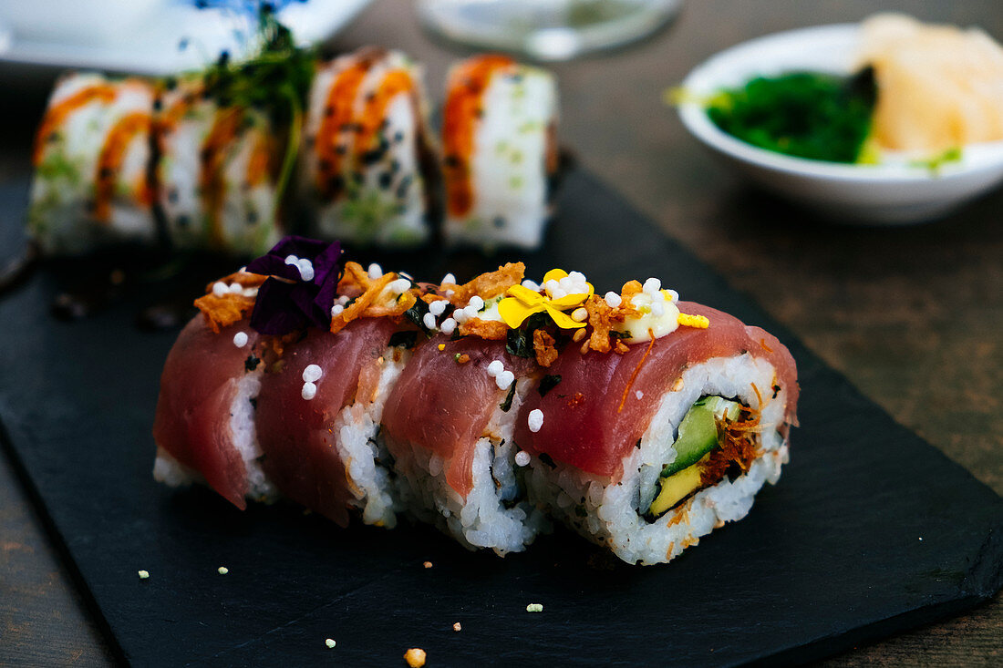 Sushi with tuna on a plate
