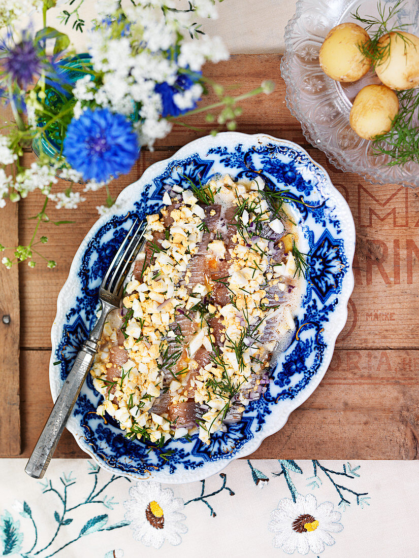 Herring with potatoes, egg and dill (Sweden)