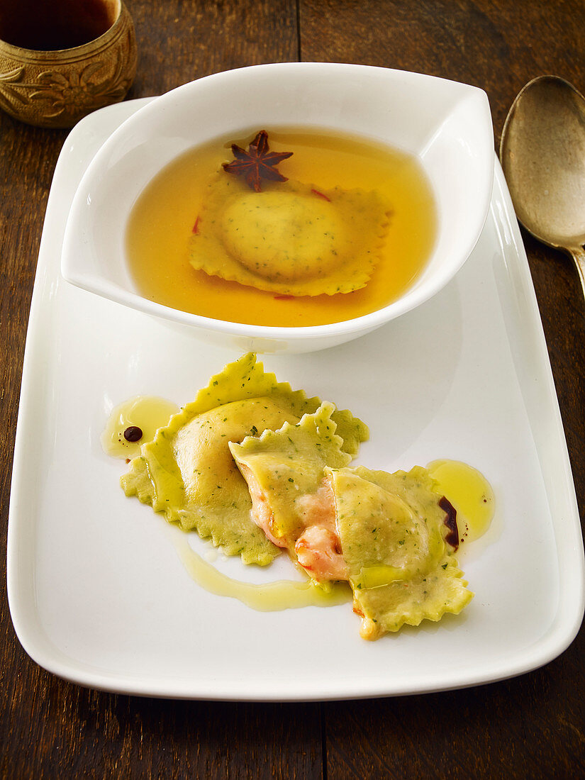 Vegetarian bouillabaisse with rouille ravioli