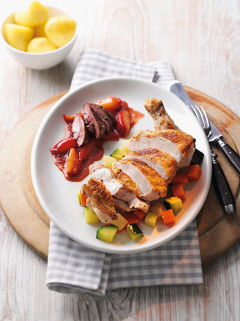 Chicken breast and liver with vegetables and plum chutney