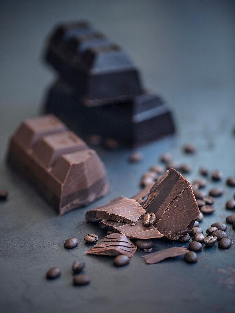 Coffee beans, milk chocolate and dark chocolate