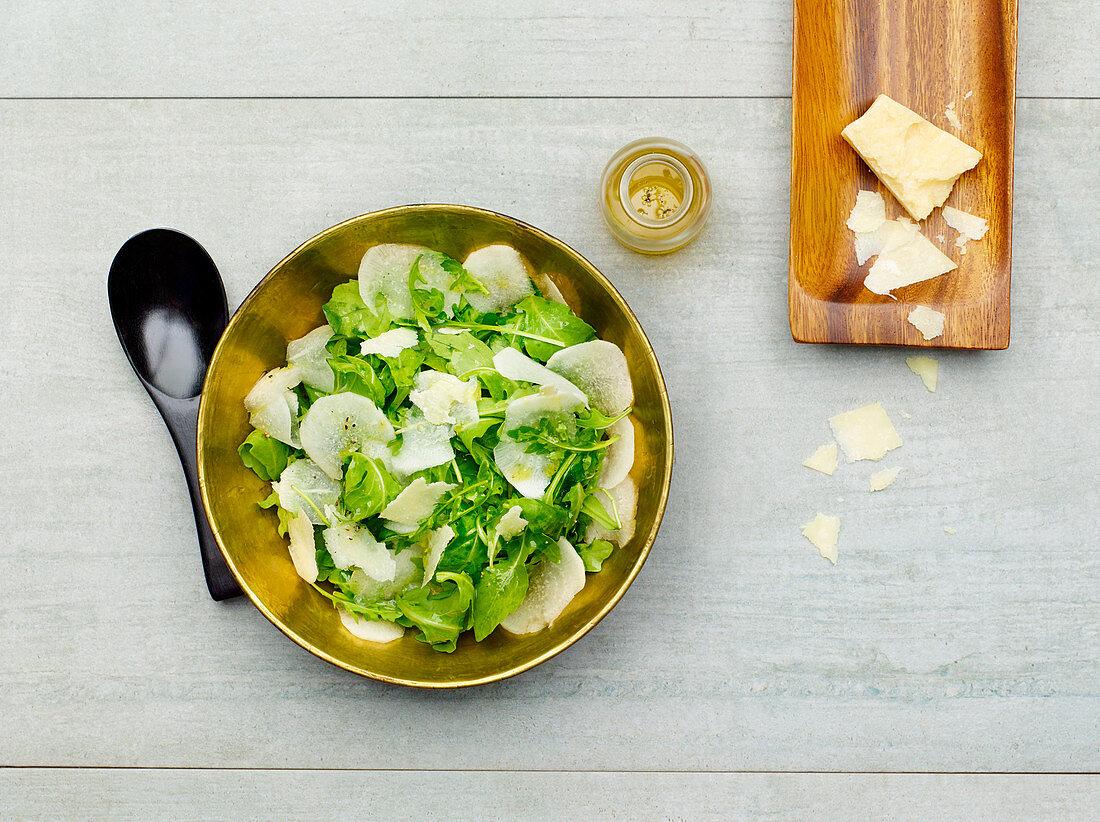 Turnip salad with Parmesan cheese