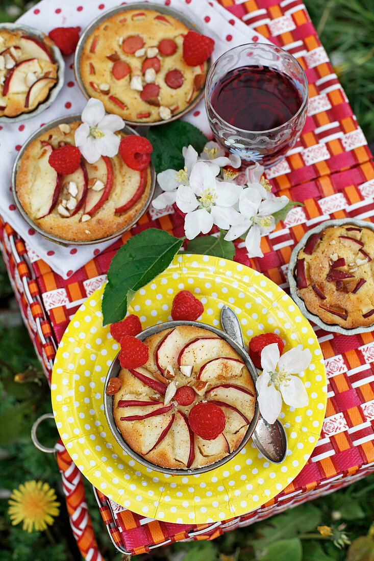 Small apple pies with raspberries for a summer picnic (top view)