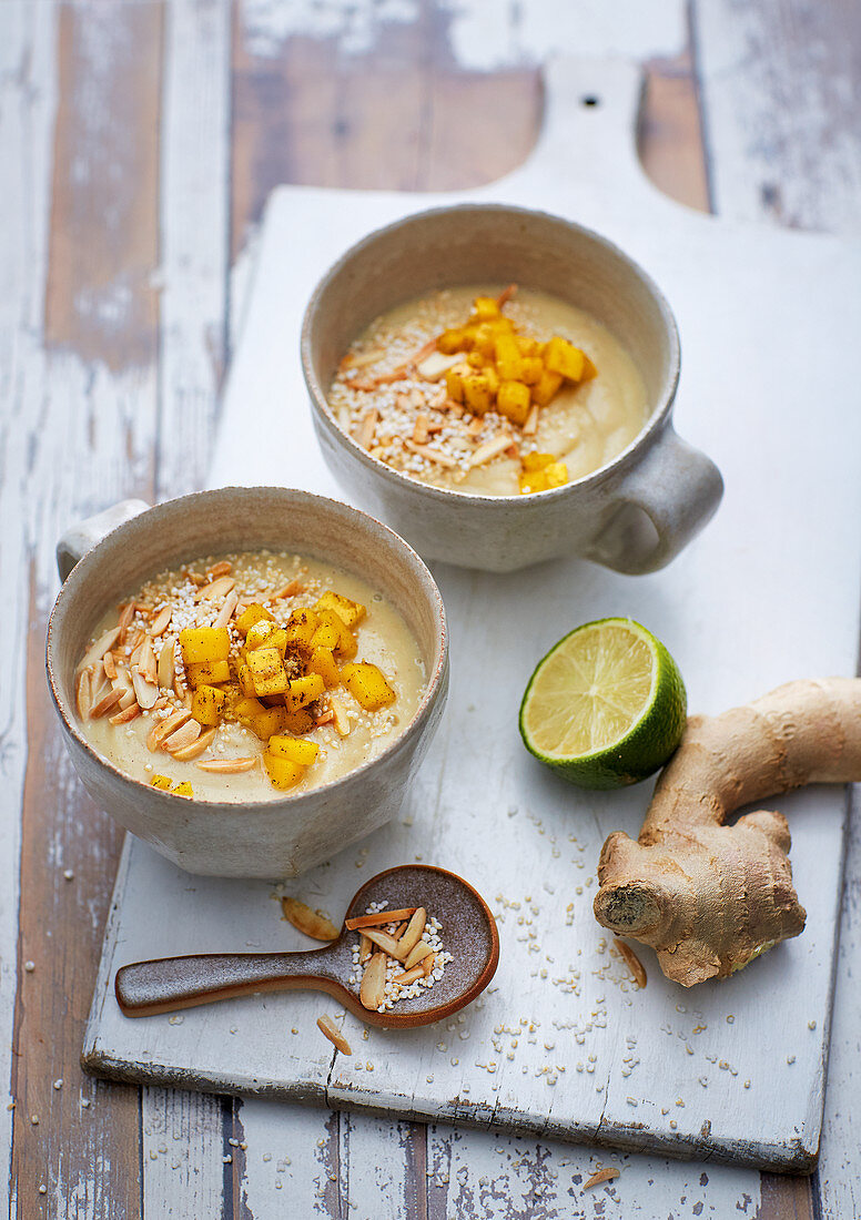 A white winter bowl made with white cabbage, coconut and dates with amaranth