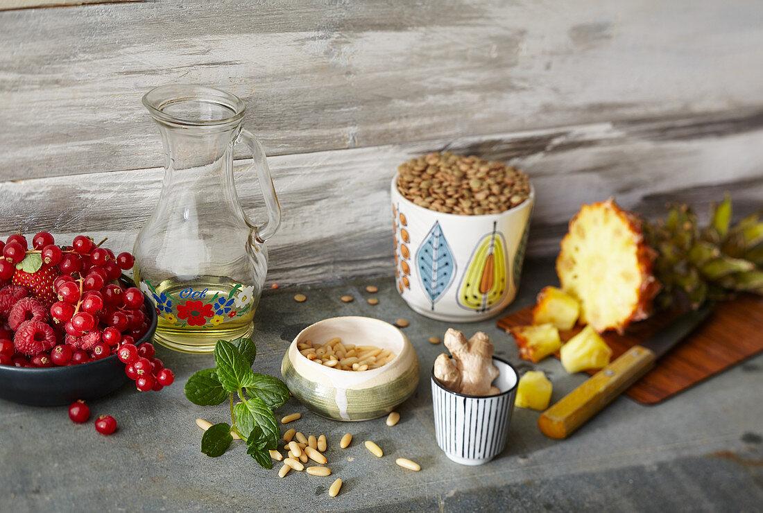 An arrangement of ingredients for healthy soups