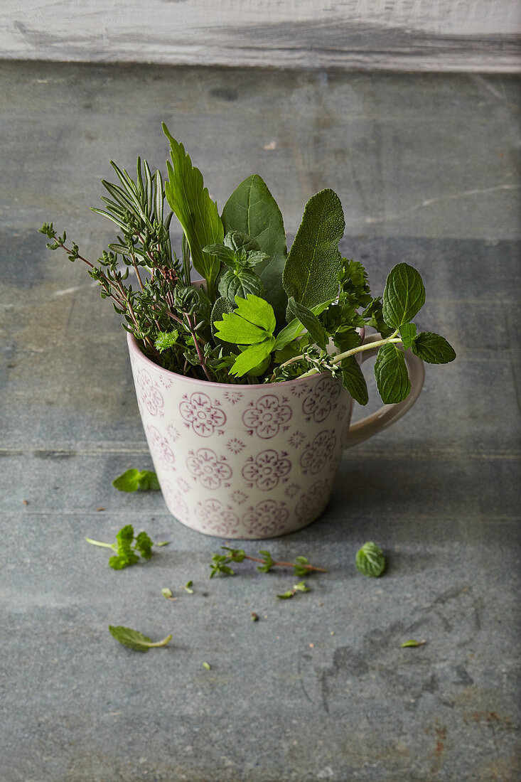 Mixed fresh herbs in a porcelain cup