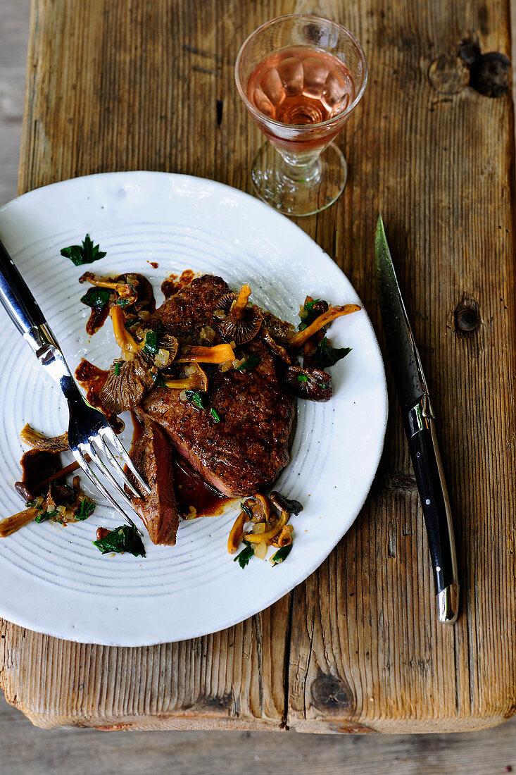Loin steak with funnel chanterelles