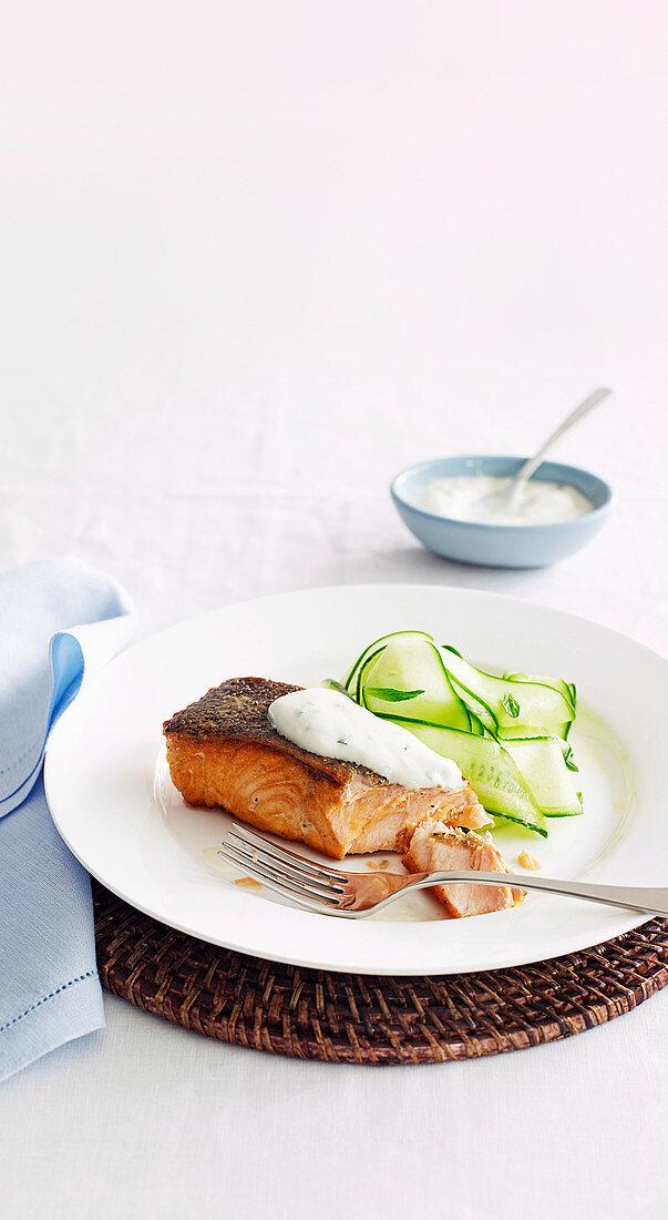 Crispy-skin Salmon with cucumber and minted Yoghurt