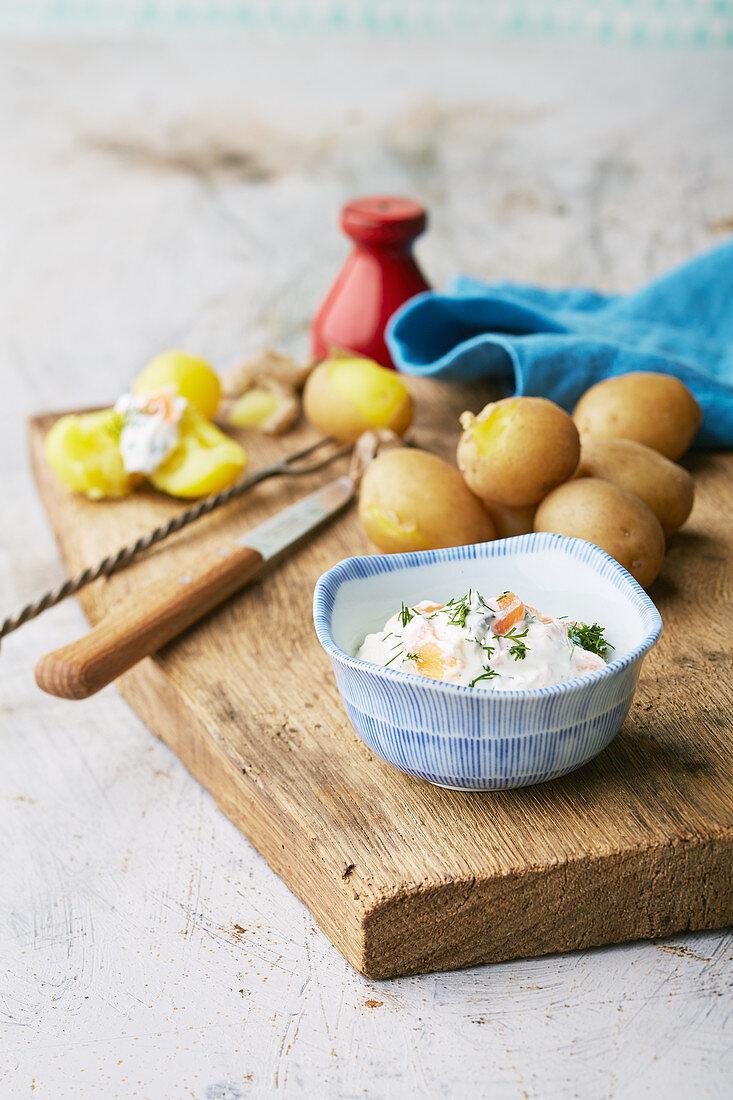 New potatoes with salmon cream