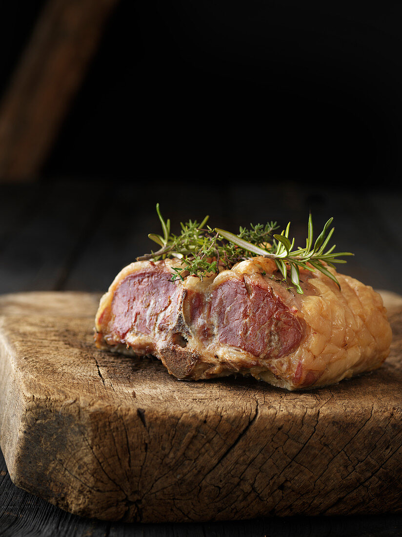 Double saddle of lamb with thyme and rosemary