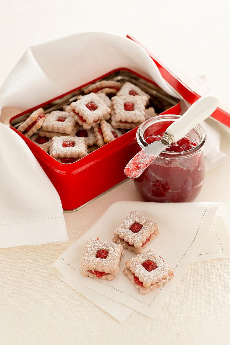 Raspberry jam sandwich biscuits