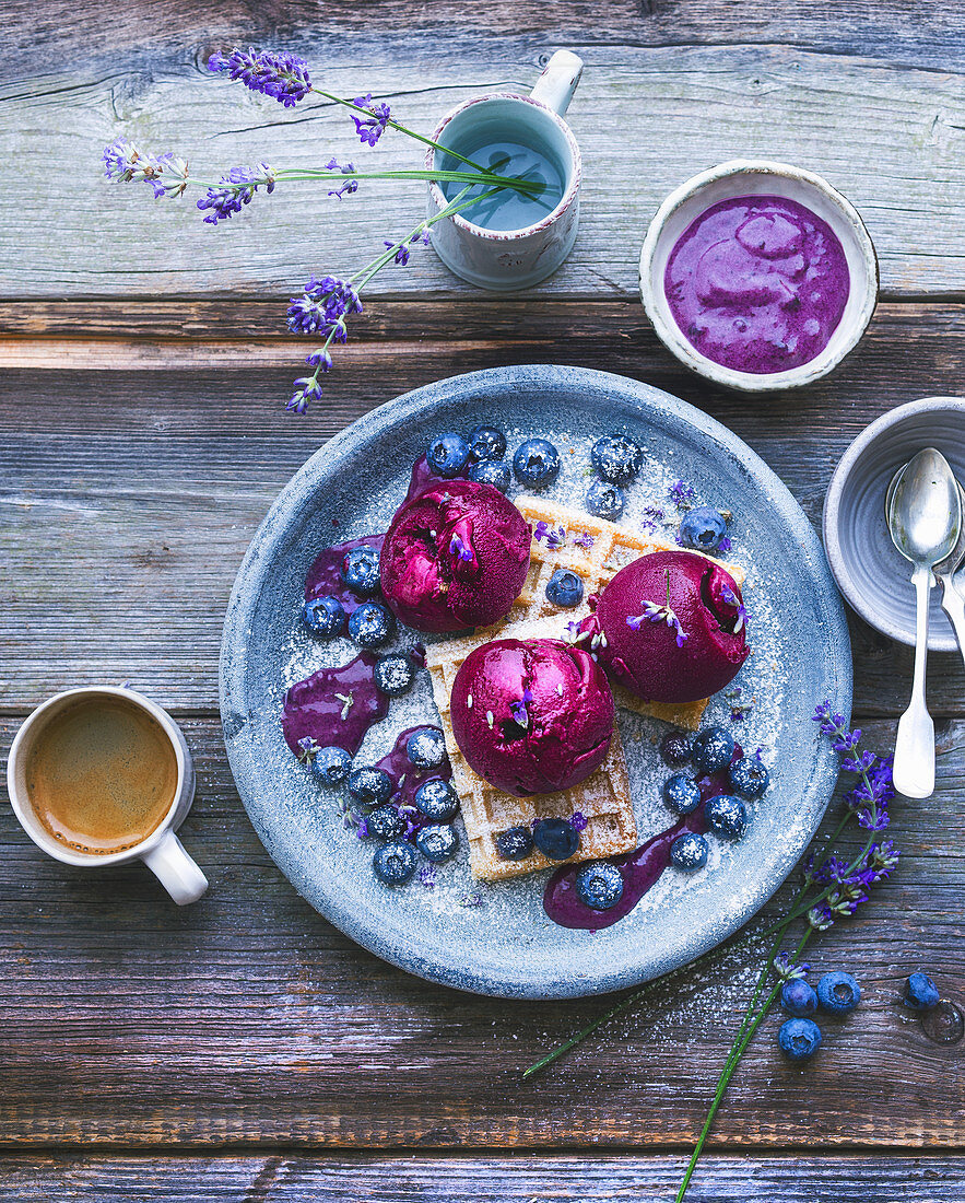 Waffles with blueberry sorbet and lavender flowers