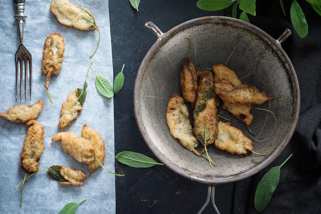 Fried sage leaves in vegan batter