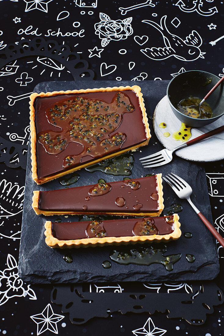 Passionfruit and chocolate tart