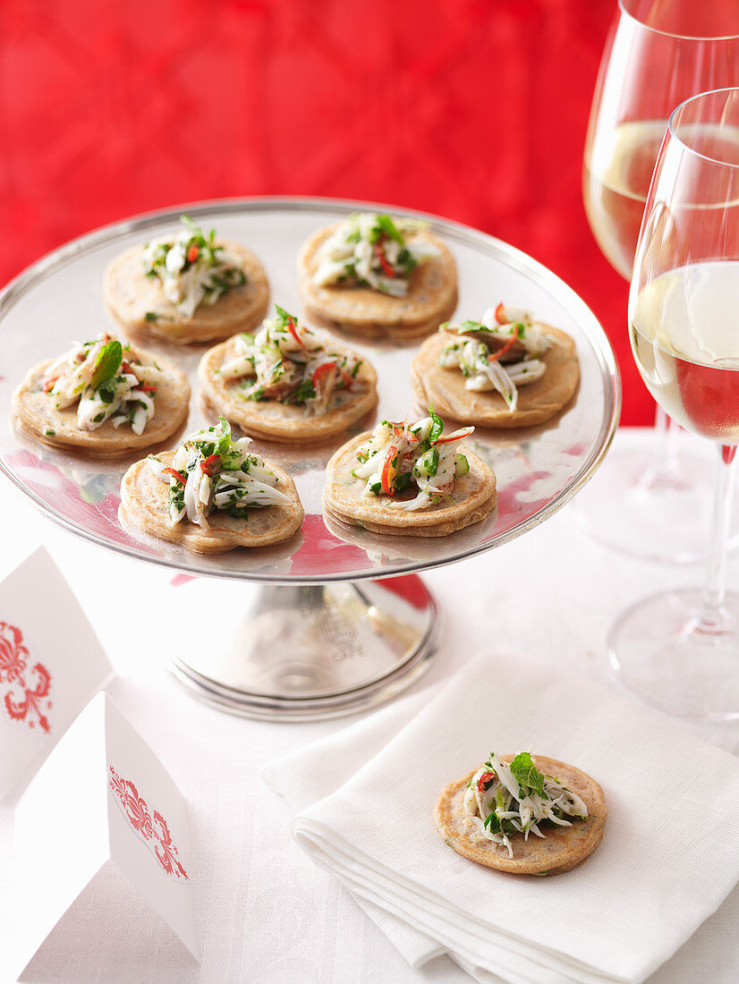 Green Onion Blinis with Chilli Crab Salad