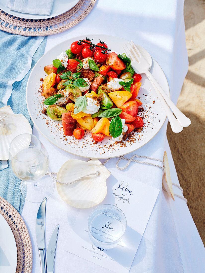 Heirloom tomato, basil and sheep's yoghurt salad