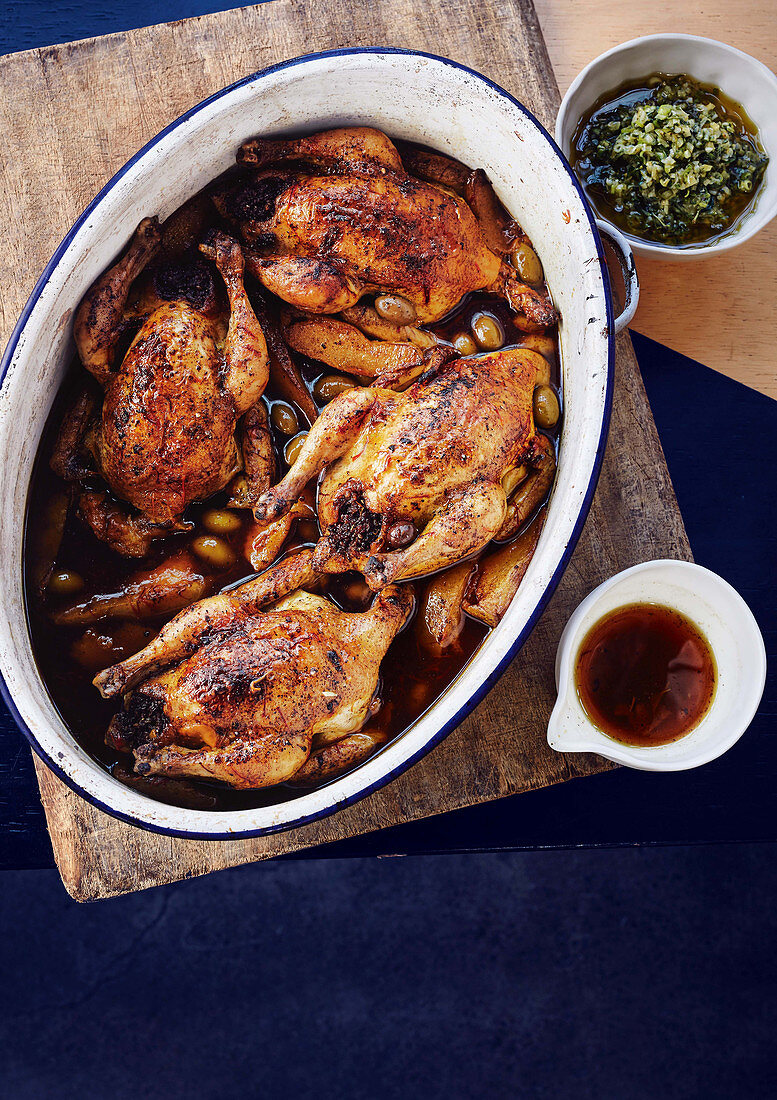Pot-roasted spatchcock with saffron, olive and quince