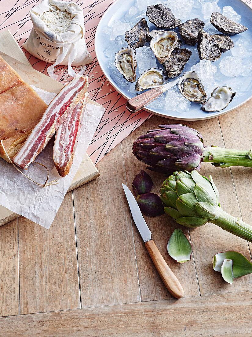 Oysters, bacon, artichockes and Arborio rice