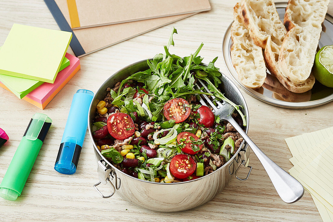 Chilli con carne salad for an office lunch
