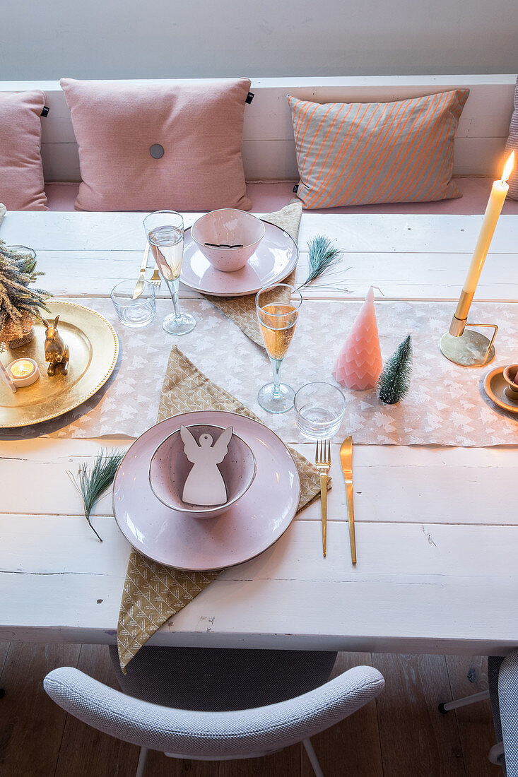 Festively set dining table