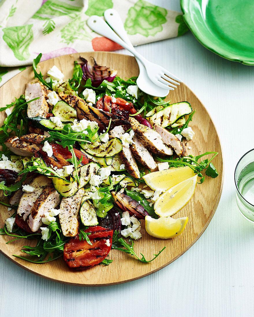 Grilled chicken with winter Greek salad