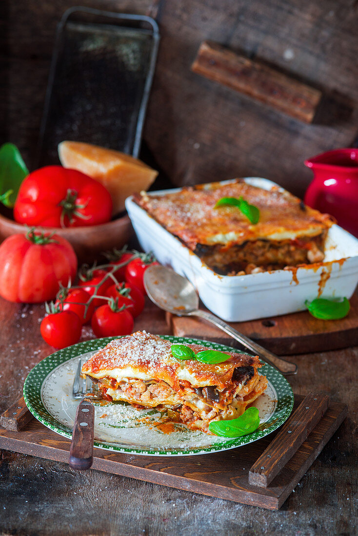 Vegetable lasagna with tomato sauce
