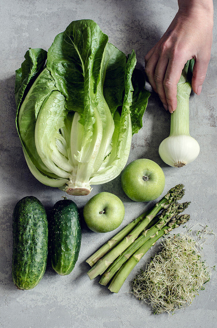 Green vegetables and apples