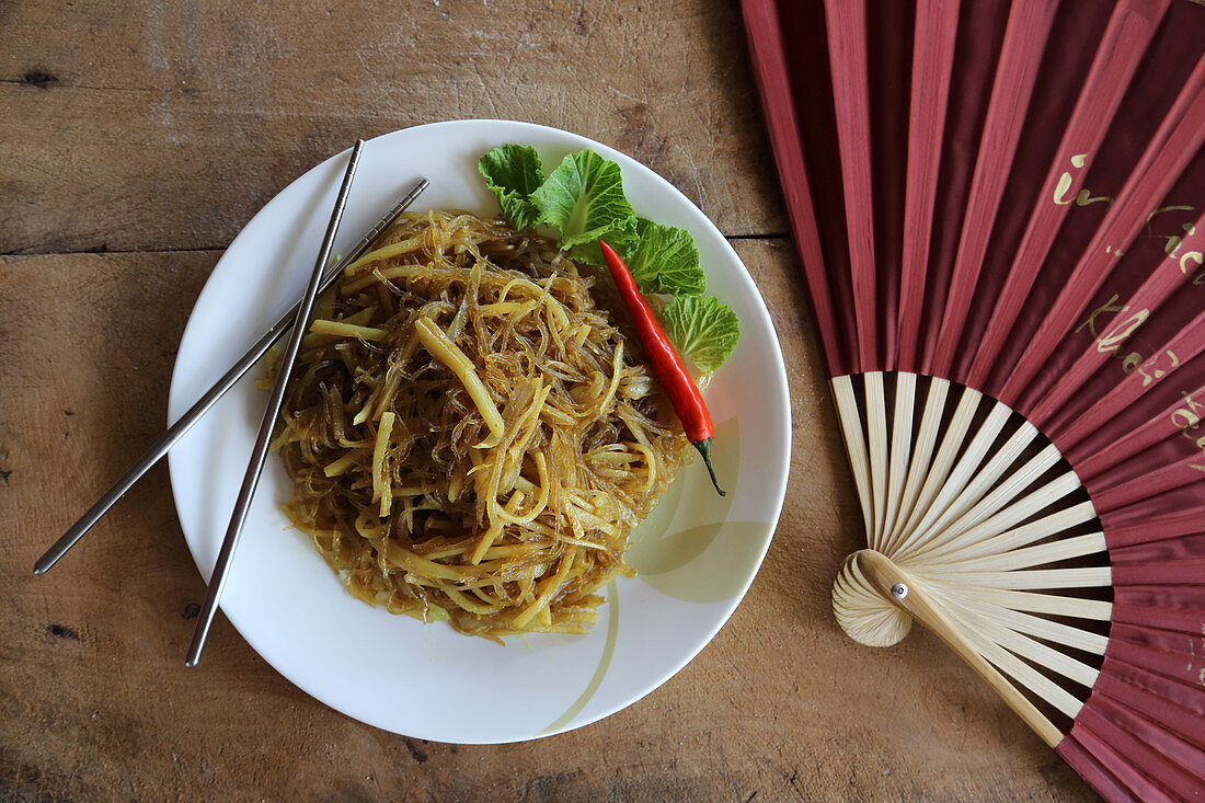 Aloo phing (potatoes with rice noodles, Tibet, China)