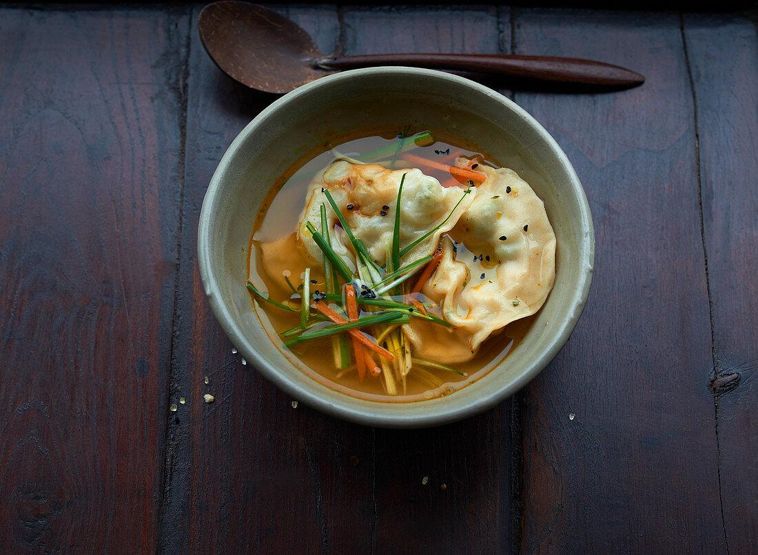 Wonton soup in a bowl (Asia)