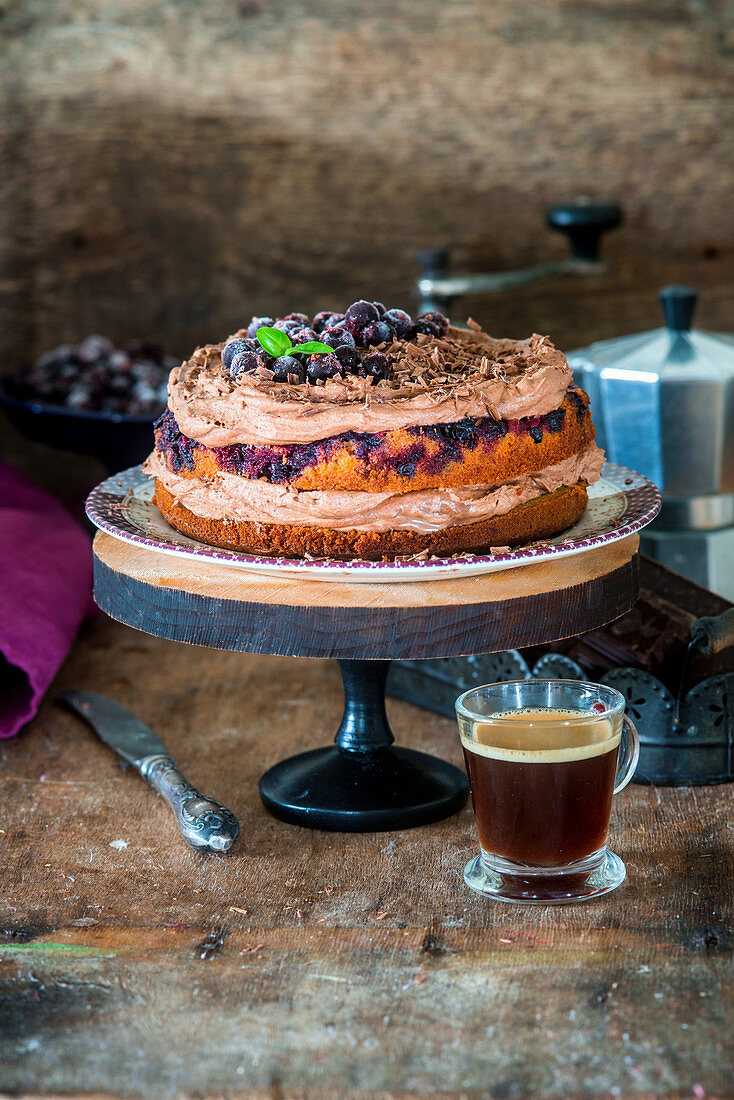 Currant chocolate cake on a cake stand