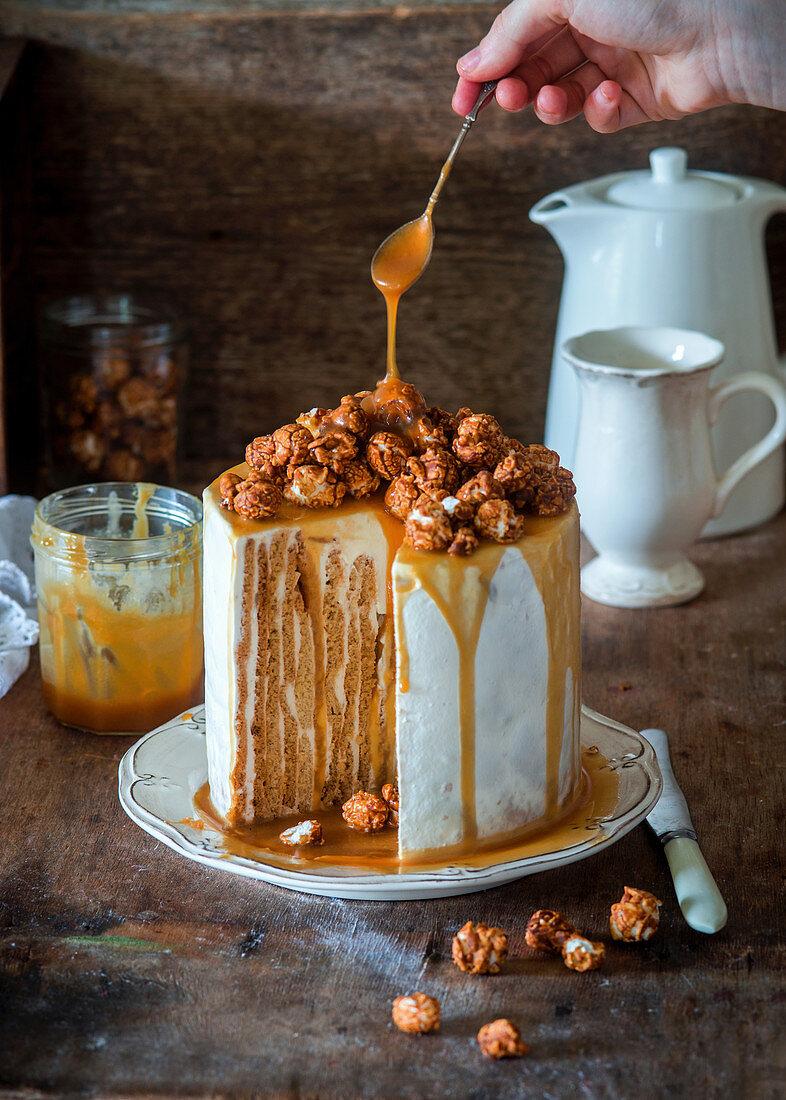 Vertical caramel honey cake with sour cream