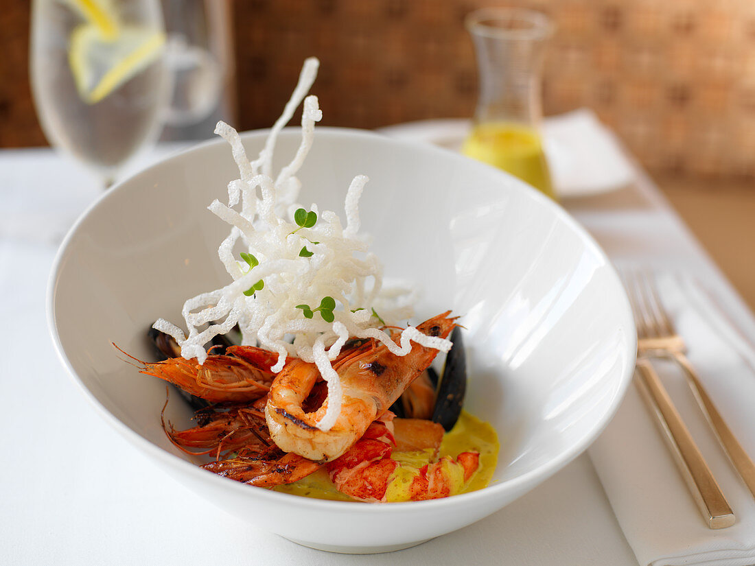 Masala shrimp with fried rice vermicelli