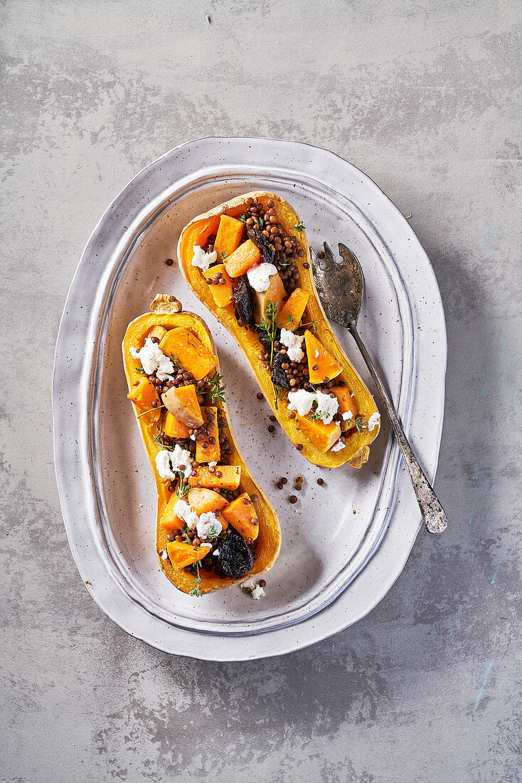 Butternut Squash with goat cheese, raisins, lentils and thyme