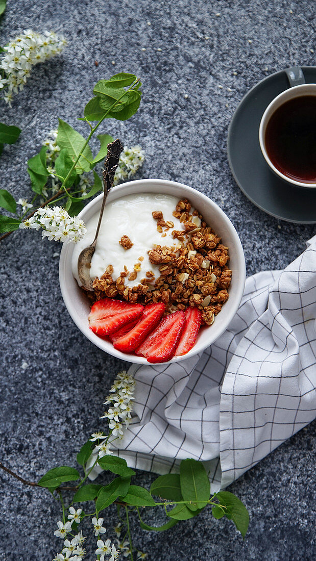 Muesli with crunchy oatmeal, yogurt and strawberries
