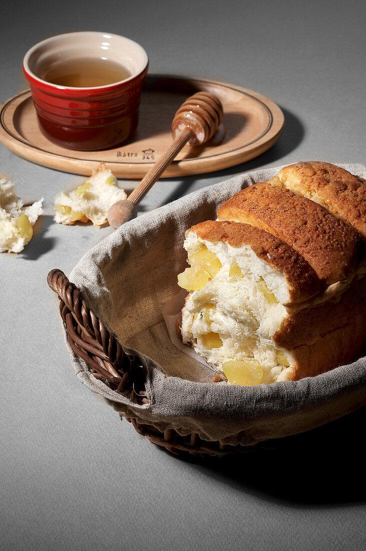 White bread with honey