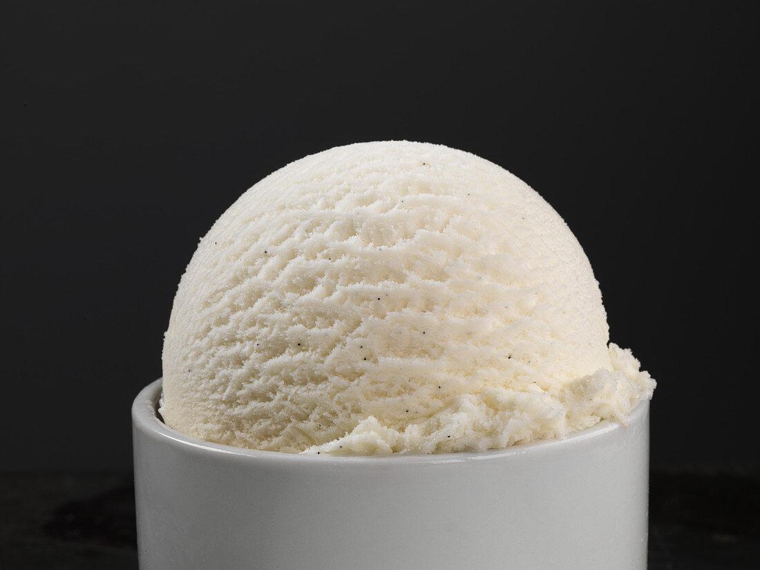 A scoop of vanilla frozen yogurt ice cream in a small bowl (close-up)