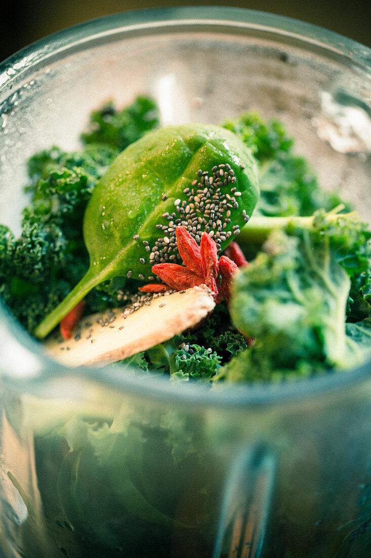 Green vegetables in a blender