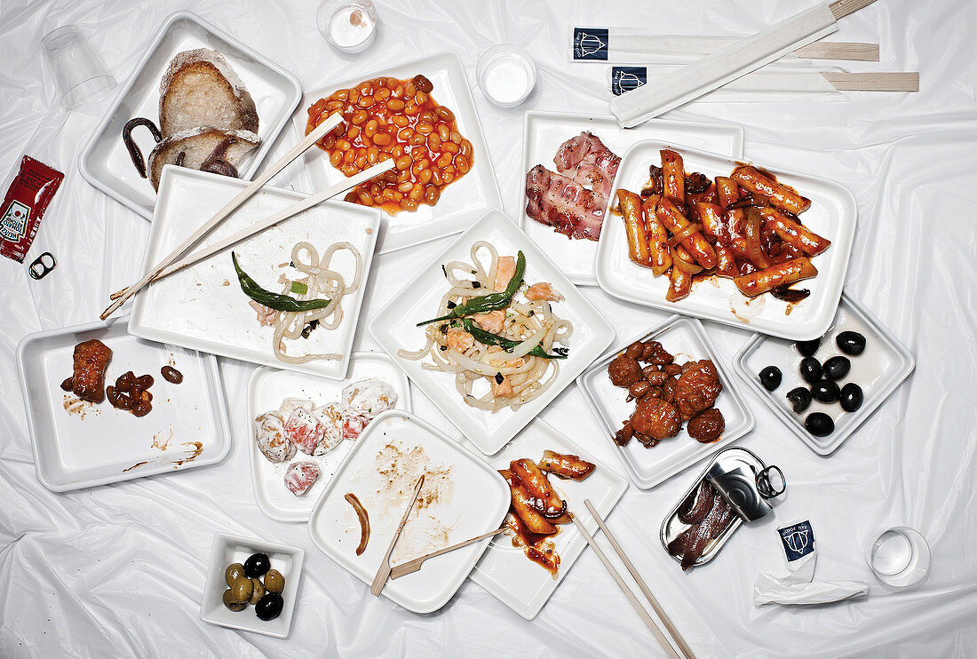 An arrangement of various small Korean dishes (seen from above)