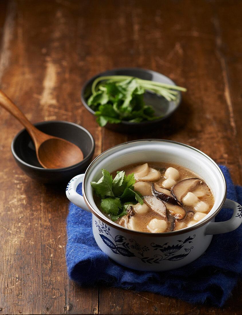 Tteokguk (rice cake soup, Korea)