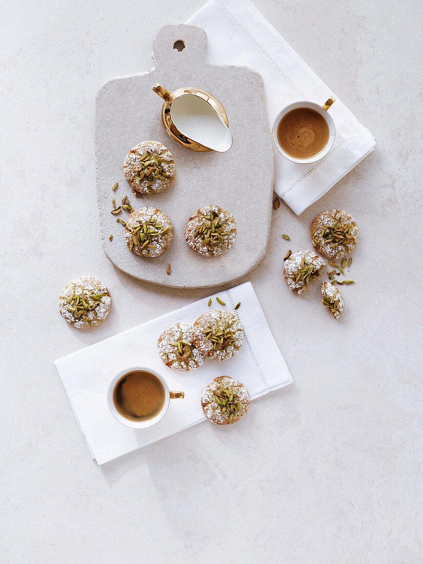 Pistachio cookies with espresso